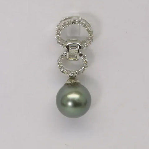 14K White Gold Diamond Black Pearl Pendant