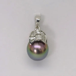 18K White Gold Diamond Black Pearl Pendant