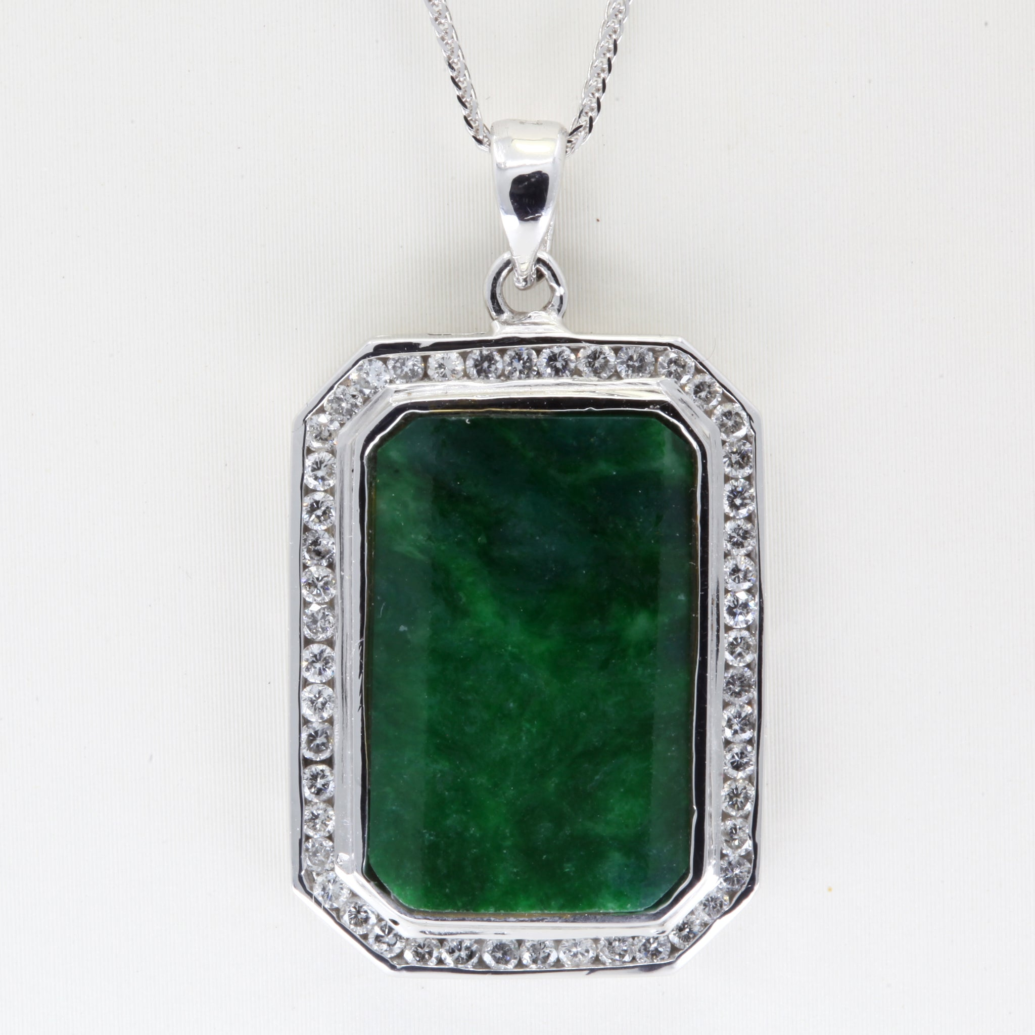 18K White Gold Diamond Jade Pendant D0.88CT