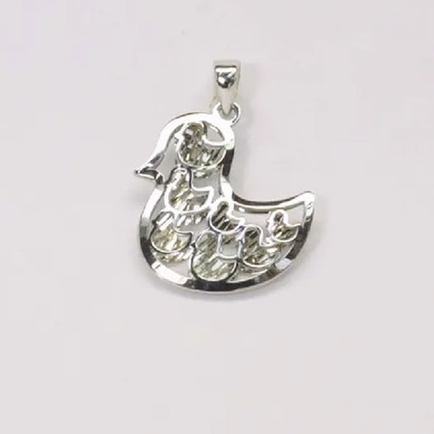 18K White Gold Duck Pendant 1.6G