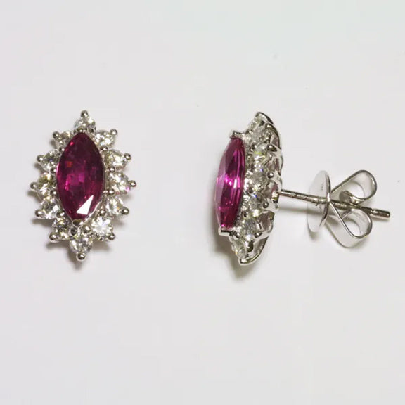18K White Gold Diamond Ruby Earrings R1.46 CT