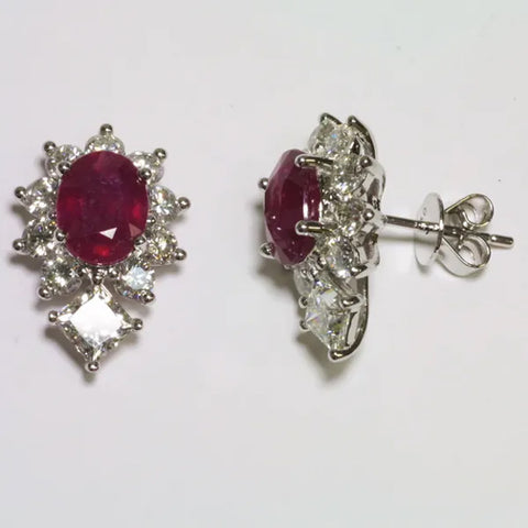 18K White Gold Diamond Ruby Earrings R3.60 CT