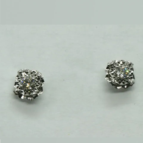 18K White Gold Diamond Earrings D0.142CT