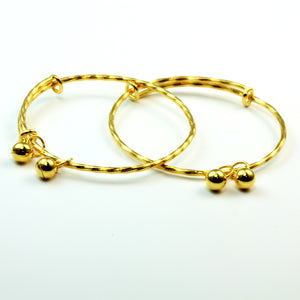 One Pair of 24K Baby bangles With Bells 7.8 Grams