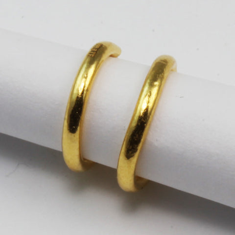 24K Pure Yellow Gold Simple Hoop Earrings 1.1 Grams