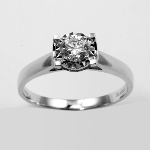 18K White Gold Women Diamond Ring D0.403CT