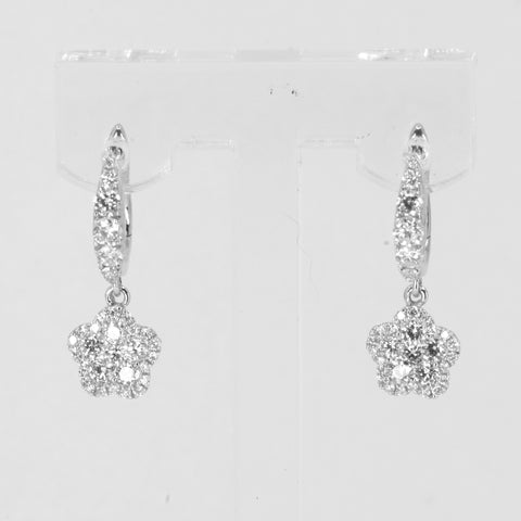 18K Solid White Gold Diamond Hanging Earrings D1.06 CT