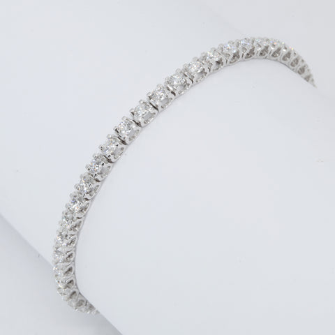 18K Solid White Gold Diamond Tennis Bracelet D3.61 CT