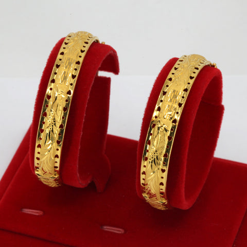 One Pair Of 24K Solid Yellow Gold Wedding Dragon Phoenix Bangles 27.8 Grams