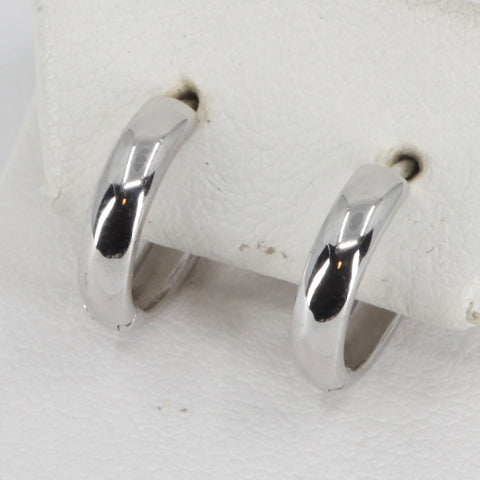 14K White Gold Plain Hoop Earrings 1.4 Grams