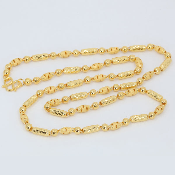 24K Solid Yellow Gold Barrel Link Chain 23.2 Grams 9999