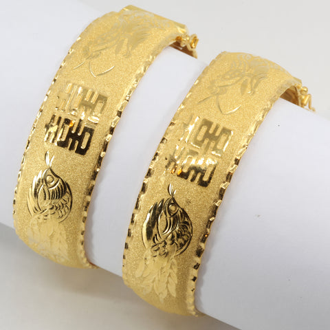 One Pair Of 24K Solid Yellow Gold Wedding Dragon Phoenix Bangles 22.5 Grams