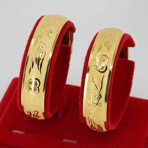 One Pair Of 24K Solid Yellow Gold Wedding Dragon Phoenix Bangles 22.2 Grams
