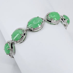18K Solid White Gold Diamond Jade Bracelet 0.41CT
