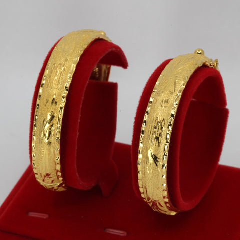One Pair Of 24K Solid Yellow Gold Wedding Dragon Phoenix Bangles 20.7 Grams