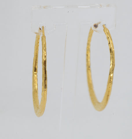 24K Solid Yellow Gold Diamond Cut Hoop Earrings 5.8 Grams