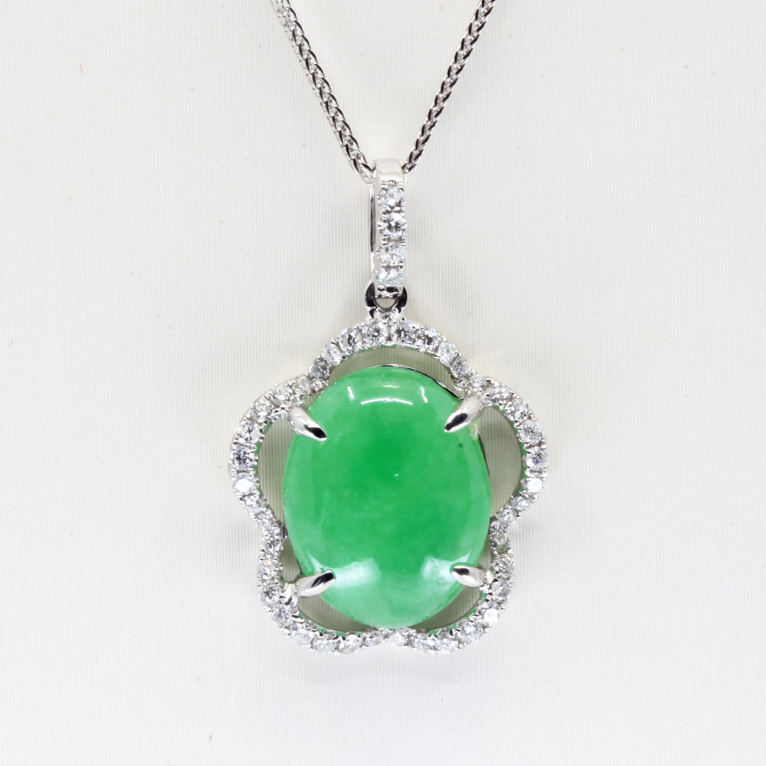 18K White Gold Diamond Jade Pendant D0.48CT