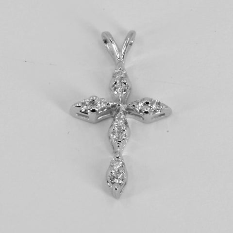 14K Solid White Gold Diamond Cross Pendant D0.20 CT