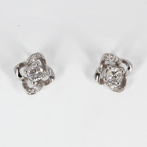 18K Solid White Gold Diamond Stud Earrings 0.30 CT