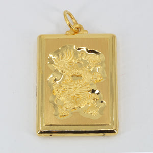 24K Solid Yellow Gold Hollow Zodiac Dragon Pendant 14.2 Grams