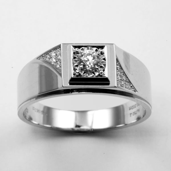 18K White Gold Men Diamond Ring D0.202CT