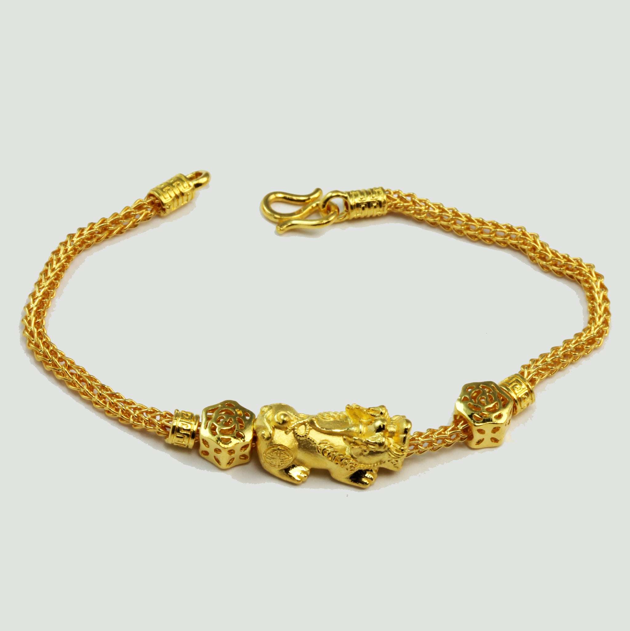 24K Solid Yellow Gold Pi Xiu Pi Yao 貔貅 Bracelet 15.8 Grams