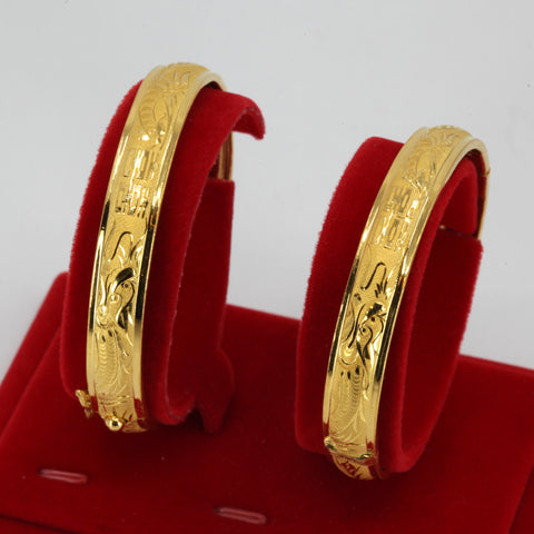 One Pair Of 24K Solid Yellow Gold Double Happiness Dragon Phoenix Bangles 27.6 Grams