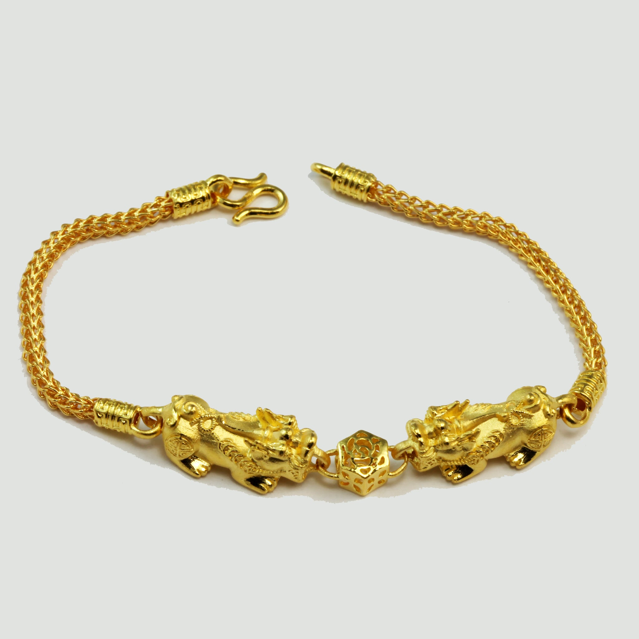 24K Solid Yellow Gold Double Pi Xiu Pi Yao 貔貅 Bracelet 19.8 Grams