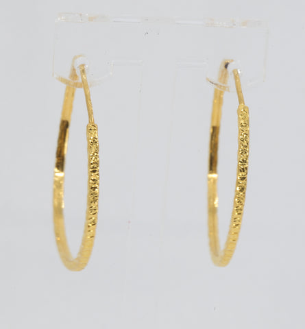 24K Solid Yellow Gold Diamond Cut Hoop Earrings 4.8 Grams