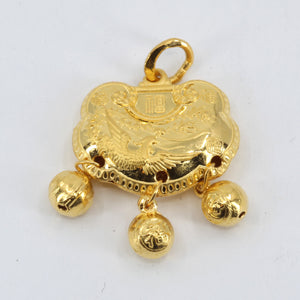 24K Solid Yellow Gold Baby Puffy Phoenix Longevity Lock with Bells Hollow Pendant 5.2 Grams