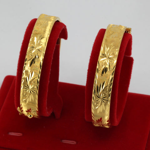 One Pair Of 24K Solid Yellow Gold Wedding Flower Bangles 31.2 Grams