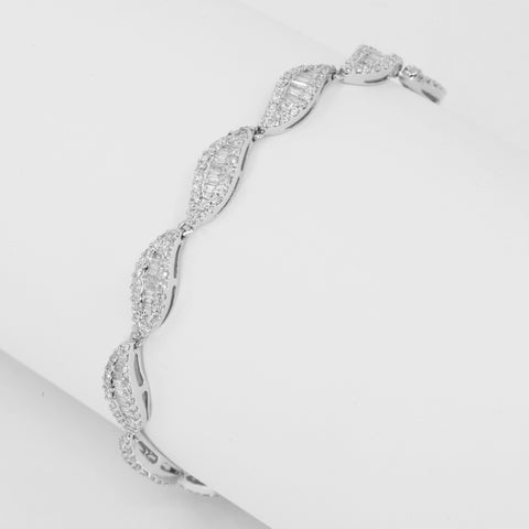18K Solid White Gold Diamond Bracelet D2.50 CT