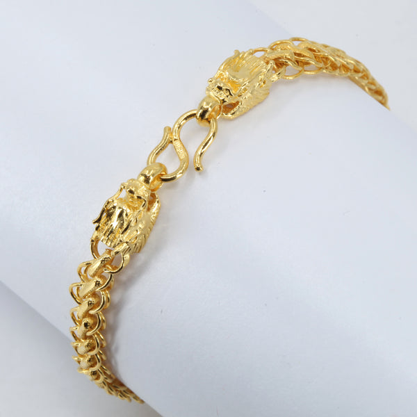 24K Solid Yellow Gold Twin Dragon Bracelet 12.7 Grams