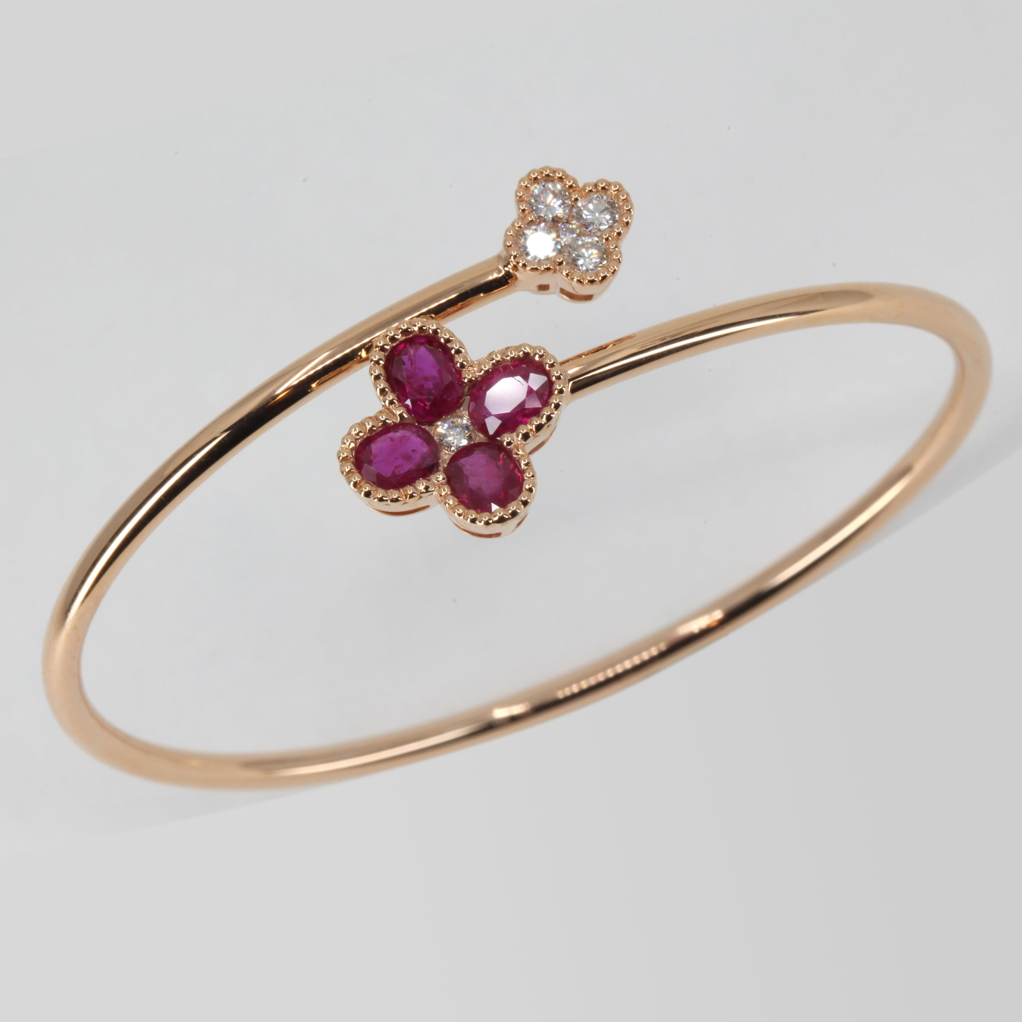 18K Rose Gold Diamond Ruby Flower Bangle R2.60 CT