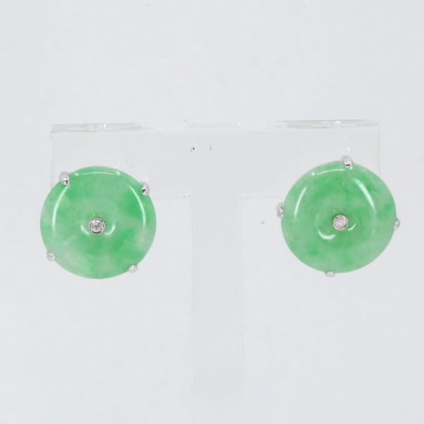 18K White Gold Diamond Green Round Jade Stud Earrings D0.02 CT