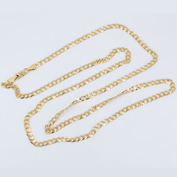 "14K Solid Yellow Gold Flat Cuban Link Chain 24"" 6.1 Grams"