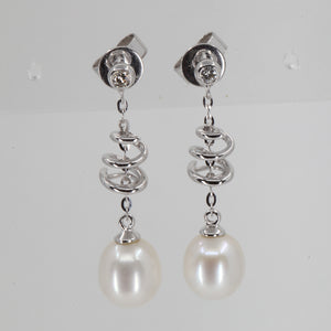 14K White Gold Diamond White Pearl Hanging Earrings D0.02 CT