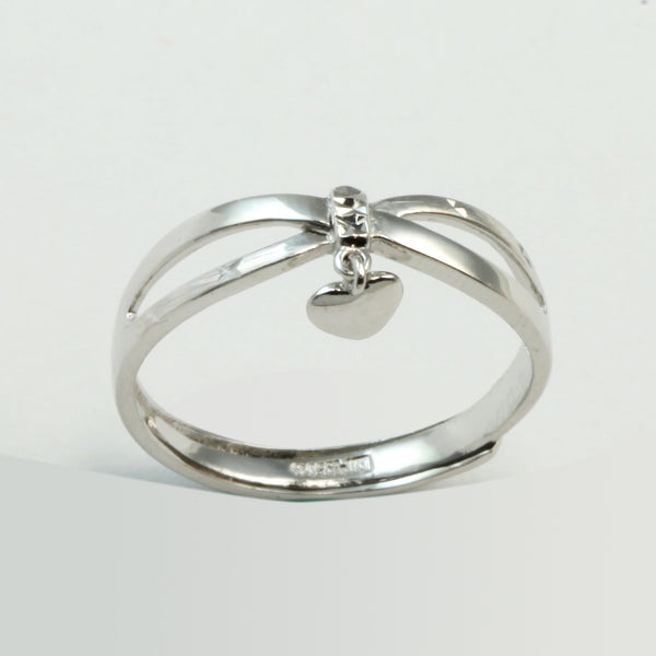 Platinum Women Hanging Heart Ring 2.9 Grams