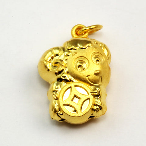 24K Solid Yellow Gold 3D Goat Pendant 3.2 Grams