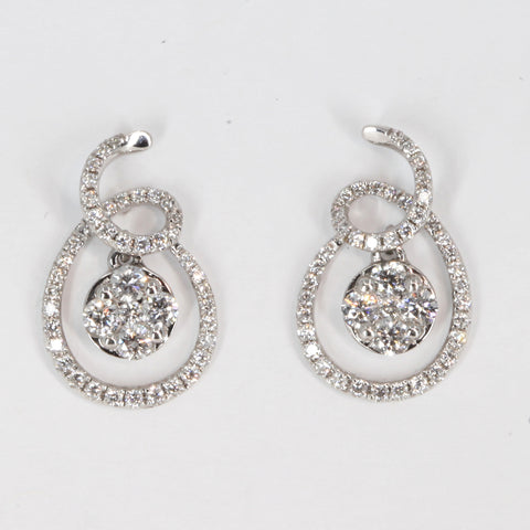 18K Solid White Gold Diamond Hanging Earrings 0.68 CT