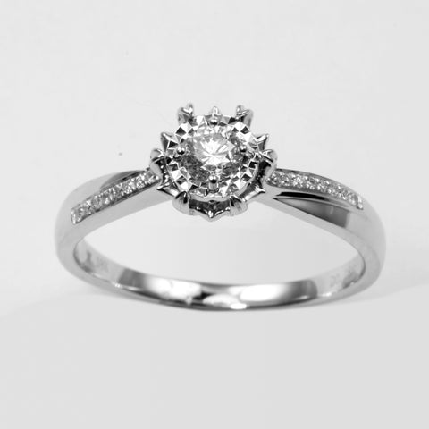 18K White Gold Women Diamond Ring D0.22CT