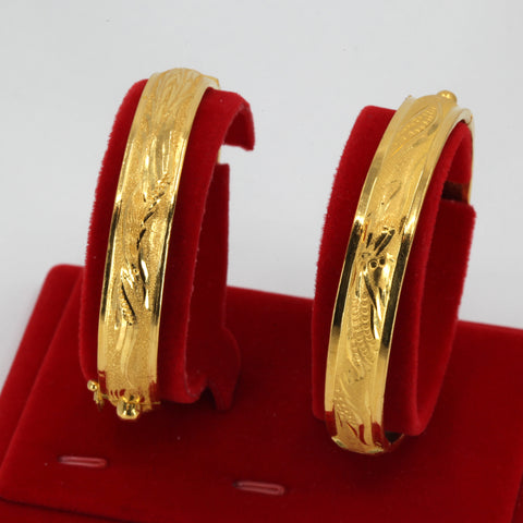 One Pair Of 24K Solid Yellow Gold Wedding Dragon Phoenix Bangles 34.5 Grams