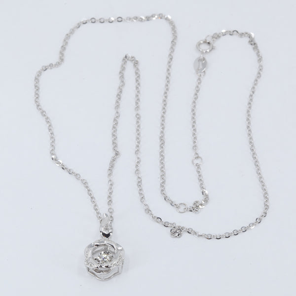 "18K Solid White Gold Round Link Chain Necklace with Diamond Pendant 16"" - 18"" D0.08CT"