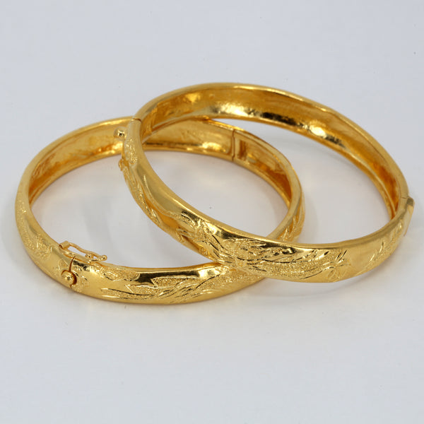 One Pair Of 24K Solid Yellow Gold Wedding Dragon Phoenix Bangles 31.5 Grams