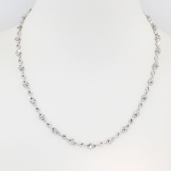 18K Solid White Gold Diamond Necklace 2.28 CT