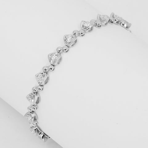 18K Solid White Gold Diamond Tennis Bracelet D2.31 CT
