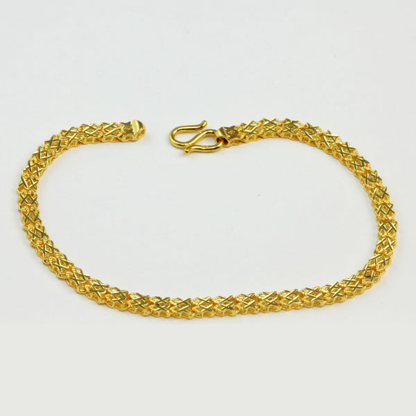 24K Solid Yellow Gold Mesh Design Bracelet 7.8 Grams