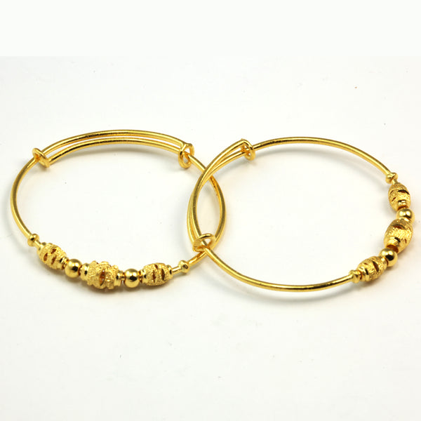 A Pair of 24K Pure Yellow Gold Baby BB Bangles 6.4 Grams
