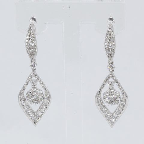 18K Solid White Gold Diamond Hanging Earrings D1.55 CT