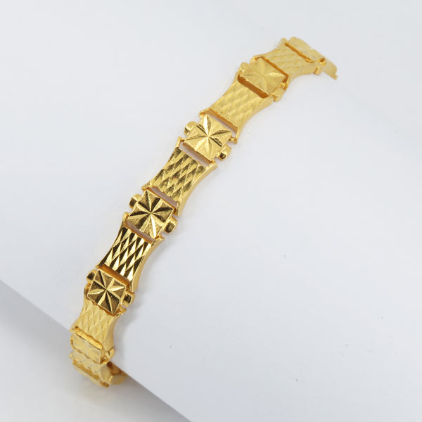 24K Solid Yellow Gold Square Link Bracelet 21.3 Grams